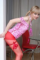 Cute In Red Stockings Stripping Euro Teen - Picture 8