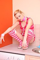 Cute Petite Short Haired Blonde In Stripey Socks - Picture 12