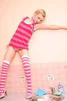 Cute Petite Short Haired Blonde In Stripey Socks - Picture 2